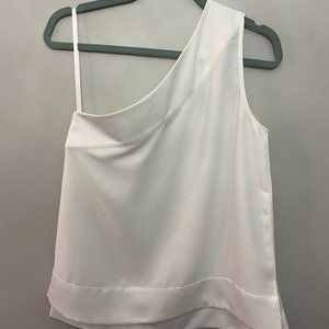White One-Shoulder Banana Republic Crepe Top